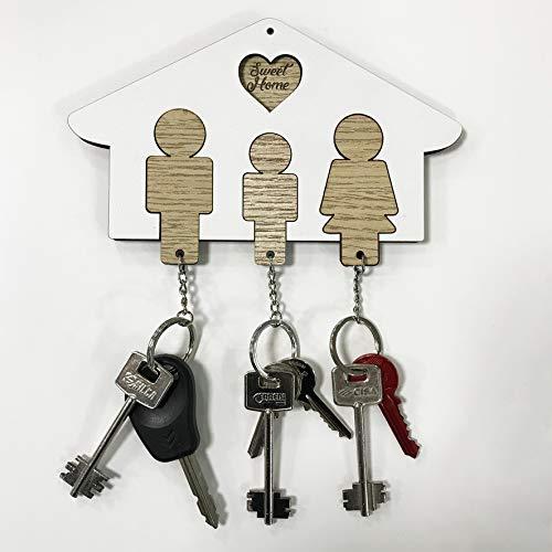 Portachiavi in Legno 3 Posti a forma di Casa - Idea Regalo perfetto per la Famiglia - Idea Regalo Natale e San Valentino - Ideale per decorare la vostra Casa (3 Posti Bianco-Color Legno)