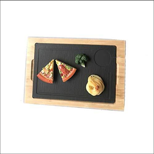 HLLXX Steak Platte,Steak Plate Platter Großes, Dickes Steak, Knusprige Steinplatte aus Schwarzem Lavastein, Schneid und Servierbretter
