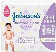 مناديل مبللة للأطفال من جونسون، تنظيف مثالي، تركيبة خالية من الكحول والبارابين والصبغات، 3+1، 192 منديل