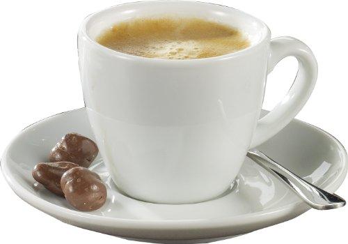 Esmeyer Bistro - Set da 6 Tazze da Espresso 0,10 l, con piattini Forma Bistro - Bianco Manico a Forma Rotonda, Altezza 5,8 cm, Diametro 11,5 cm