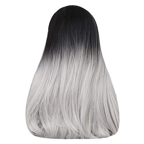 Bumen Schwarzes Silber gewellt langhaar aus hitzebeständiger Kunstfaser für Alltag Cosplay oder Schaufensterpuppen Karneval oder Mottoparties Lange lockige