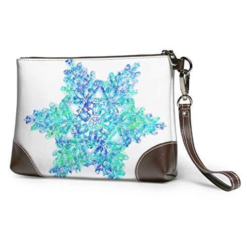 XCNGG Weiche wasserdichte Handgelenk Leder Clutch Dynamic Style Big Snowflake Wristlet Brieftasche Telefon mit Reißverschluss für Frauen Mädchen