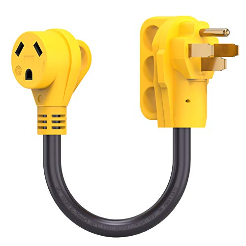 Kohree 50 Amp to 30 Amp RV Plug Adapter Heavy Duty Dogbone Electrical Power Adapter with Grip Handle, 50M/30F 125V/3750W 18