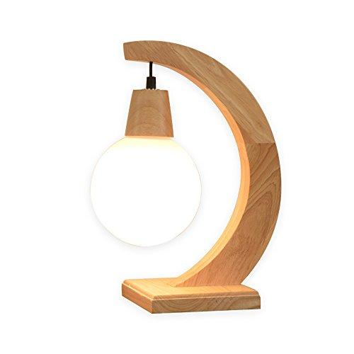 KMYX Moderne Woody Lampe De Table Ronde Boule De Verre Abat-jour Lampes De Bureau Chaud Chambre Chevet Lampe Protection Des Yeux Étude Lire Lampes D'étude E27 Socket Salon Décoration Table Luminaire