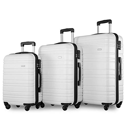 Set of 3 Light Weight Hardshell 4 Wheel Travel Trolley Suitcase Luggage Set Holdall Case-20/24/28 inch-White