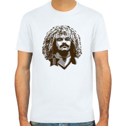 SpielRaum T-Shirt Carlos Valderrama ::: Farbauswahl: SkyBlue, Sand oder weiß ::: Größen: S-XXL ::: Fußball-Kult
