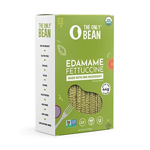 The Only Bean - Organic Edamame Fettuccine Pasta - High Protein, Keto Friendly, Gluten-Free, Vegan, Non-GMO, Kosher, Low Carb, Plant-Based Bean Noodles - 8 oz (1 Pack)