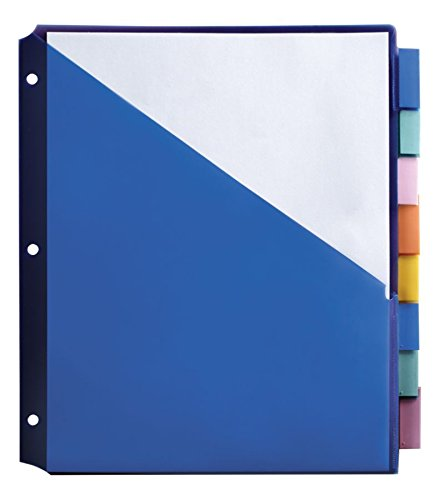 Office Depot Brand Double-Pocket Insertable Plastic Divider, 8-Tab, 9 1/2in x 11 1/4in, Assorted Colors
