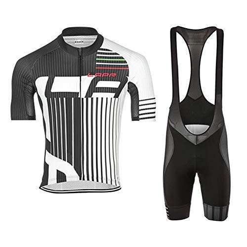d.Stil Tuta da Ciclismo da Uomo A Maniche Corte Pantaloncini Estivi con Cuscino per Maglia da Ciclismo MTB + Salopette da Ciclismo (Grigio-Bianco, M)