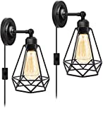 Plug in Wall Sconce, Wire Cage Wall Sconce, Industrial Wall Lamp with Plug in Cord, Rustic Wall Sconce Fixture, On/Off Switch Vintage Wall Light Fixture for Headboard Bedroom Porch-2 Pack