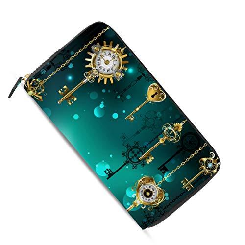 Ahomy Damen Geldbörse mit langem Reißverschluss, antikes Schlüssel-Zifferblatt, goldfarbene Kette, Leder-Geldbörse, mehrere Kreditkarten, Bargeld, Tasche, Clutch