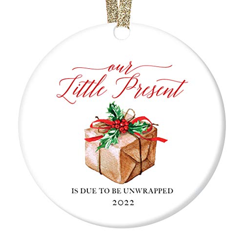 """Pregnancy Announcement Ornament Baby Due Date 2021 Our Little Present Expecting Newborn Soon Surprise Grandparents Family Christmas Keepsake 3"""" Flat Ceramic with Red Ribbon & Free Gift Box OR00115"""