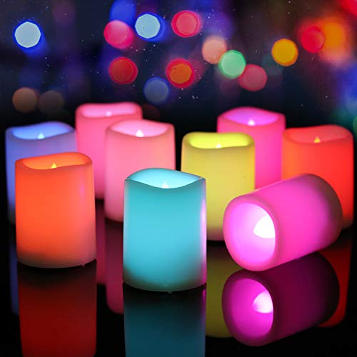 Eldnacele Colour Changing Plastic Flameless LED Tea Light Candles with Remote Control Flickering Battery Operated Electric Candle in Wave Open for Wedding Home Dinner Party Decor, 12 Pack, 1.5''x2''