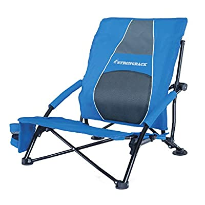 STRONGBACK Low Gravity Beach Chair Heavy Duty Portable Camping and Lounge Travel Outdoor Seat with Built-in Lumbar Support, Blue, 2.0 (New for 2019)