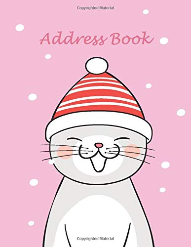 Address Book: A Beautiful Cat Address Book for Seniors and Low Vision Elderly People Large Print with Alphabetic Taps Perfect for Keeping Address ... Media and Notes in Cute Cat Doodle Cover