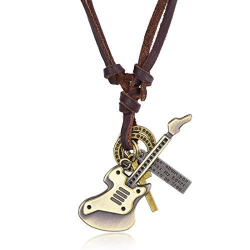Adisaer Leder Kette Herren Damen Halskette mit Anhänger Gitarre Anhänger Lederhalskette Vintage Gothic Braun
