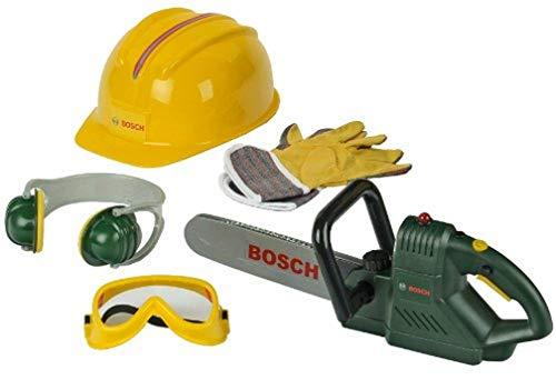 Theo Klein 8525 Sierra de cadena Bosch con accesorios, Con sonido de sierra y luz intermitente a pilas, Incluye guantes de trabajo, gafas de seguridad y mucho más, Medidas: 40 cm x 11 cm x 13 cm,