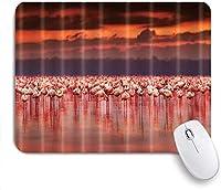 マウスパッド 個性的 おしゃれ 柔軟 かわいい ゴム製裏面 ゲーミングマウスパッド PC ノートパソコン オフィス用 デスクマット 滑り止め 耐久性が良い おもしろいパターン (夕暮れ時の湖の鳥赤いフラミンゴ)