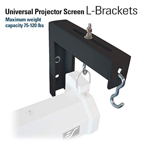 "Elite Screens 6"" Black Universal Projector Screen L-Brackets, Single Metal Welded Construction, Wall or Ceiling Mount - Includes Hooks and Hardware, Model: ZVMAXLB6-B"