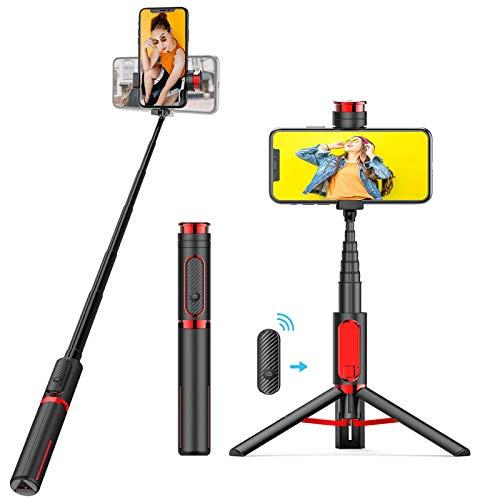 BAOLIDA Bastone Selfie Bluetooth, Selfie Stick Treppiede monopiede con Telecomando Treppiede Tutto in Uno per Smartphone GoPro Camera Selfie Stick per iPhone Samsung Huawei Xiaomi