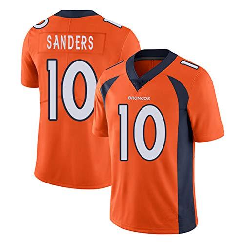 Emmanuel Sanders 10 Denver Broncos Rugby Kleidung Herren, Unterstützer Trikot Herren schnell trocknende Sportbekleidung Basketball T-Shirt S-3XL-orange-L