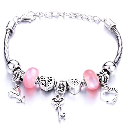 Antique Original Crown Key Lock Shape 6 Colors Charm Bracelets For Women Glass Beads Bracelet & Bangle Diy Jewelry Gifts-Blue