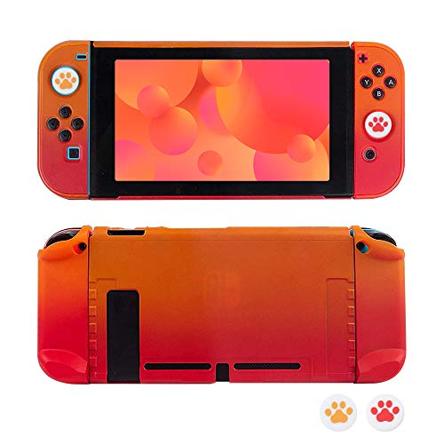 RHOTALL Protective Accessories Cover Case for Nintendo Switch, Dockable Case for Nintendo Switch Console and Joy-Con Controller with 2 Cat Claw Thumb Grips (Red & Orange)