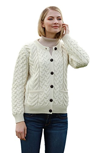 Carraig Donn 100% Supersoft Merinowol Aran Lumber Cardigan voor dames, in natuur/winterroze