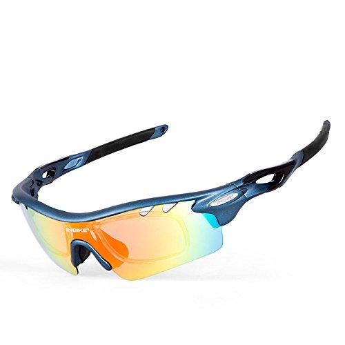 INBIKE ciclismo gafas hombres mujeres polarizadas–Gafas Gafas Deportes al aire libre bicicleta gafas de sol gafas 5grupos de lentes, azul