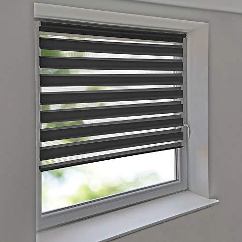 Easy-Shadow - Doppelrollo 125 x 160 cm anthrazit Klemmfix ohne Bohren Vario Seitenzug Duorollo Zebrarollo für Fenster und Türen