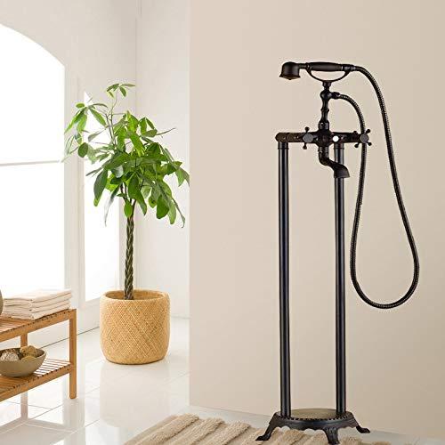 OUBONI Floor Mount Shower Set With Handheld Shower Bathroom Deck Mount Single Handle Basin Sink Vessel Torneira Tap Mixer Faucet,ORB
