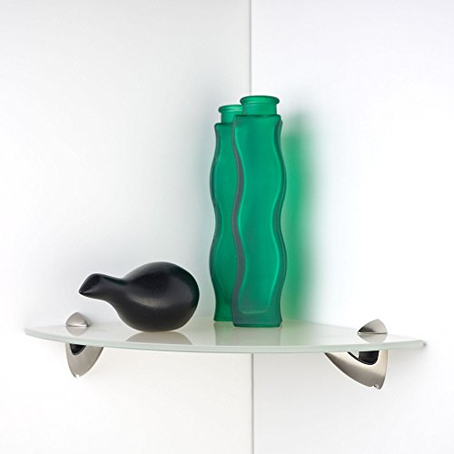Glazen rek, plankenset, badkamerrek, boekenplank, glazen plank hoekplank Crystal | 25 x 25 cm x 6 mm | incl. dragers Scarpo