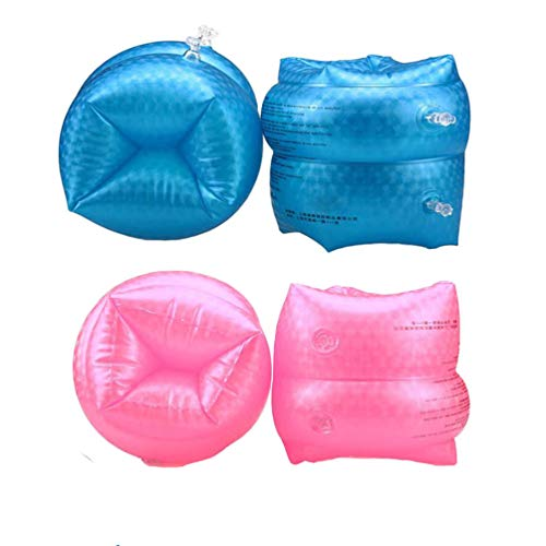 Jiareet PVC Swimming Arm Floaties Inflatable Swim Arm Bands Water Wings Floater Sleeves Swimming Rings Tube Armlets for Kids Toddlers Adults (Blue Pink)