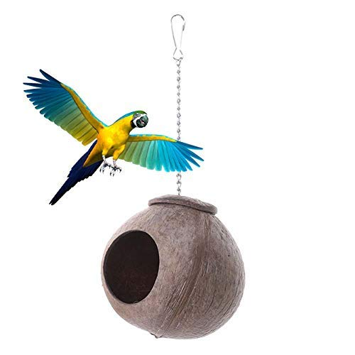 BANGBANGSHOP Hamster Huis Slapende kooi muis Rat Nest,Natuurlijke Kokosnoot Shell Vogel Nest Huis Hut kooi voor huisdier papegaai Budgies Parakeet Veelkleurig