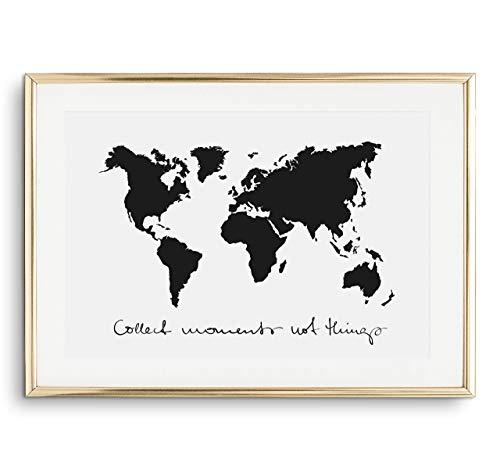 Tales by Jen Kunstdruck, Sprüche Poster: Collect moments not things   Stilvolles Premium Poster auf hochwertigem Papier   Moderne Wohnzimmer Deko, schwarz weißes Wohnaccessoires   Ohne Bilderrahmen