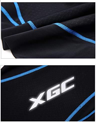 XGC Herren Lange Radlerhose Fahrradhose Radhose Radsportshorts für Männer Elastische Atmungsaktive 4D Schwamm Sitzpolster mit Einer Hohen Dichte (Blue, S) - 5