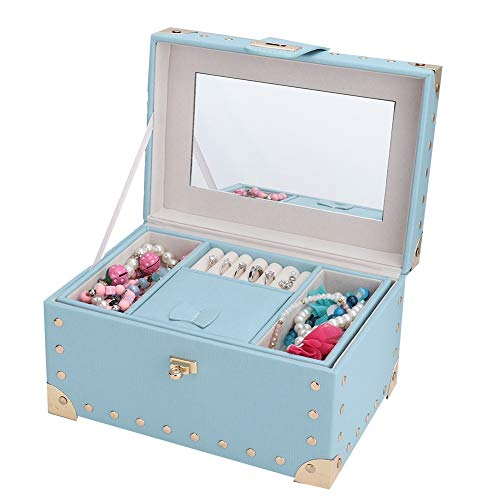 Tragbarer Schmuck Organizer, Halskette Aufbewahrungsbox, Schmuck Aufbewahrungsbox, Polyurethan Schmuckschatulle, mit Spiegel 2 Schichten Leichtgewicht für Frauen Home Lady Girls(blue)