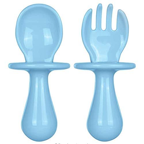 Juego de 2 cubiertos para niños pequeños, primeros utensilios de autoalimentación, mini cuchara y tenedor, utensilios antiasfixia, vajilla para bebés de 6 meses en adelante.