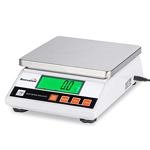 Bonvoisin Balanza Digital Electrónica de Alta Precisión de 0.1g Báscula Industrial con Función de Conteo y Tara Ideal para Lab, Joyería, Industrial - Certificado CE (10Kg, 0.1g)