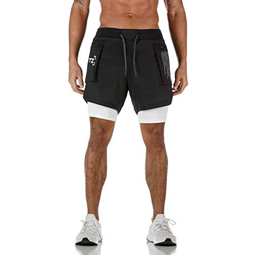 Homme Été 2-in-1 Short de Sport Compression avec Slip Short de Course Séchage Rapide Pantalon Court Leggings de Sport avec Poche Base Layer Stretch Fitness Gym Entraînement