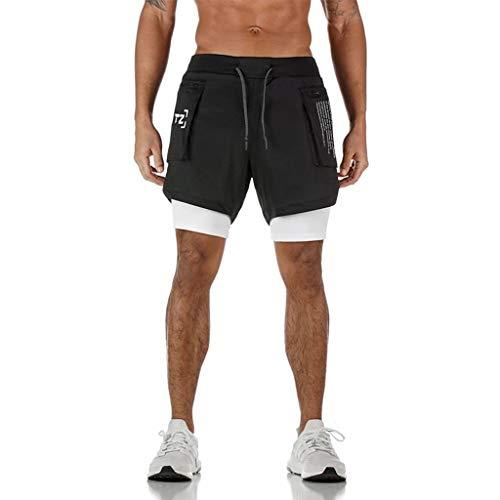 Homme Été 2-in-1 Short de Sport Compression avec Slip Short de Course Séchage Rapide Pantalon Court Leggings de Sport avec Poche Base Layer Stretch Fitness Gym Entraînement