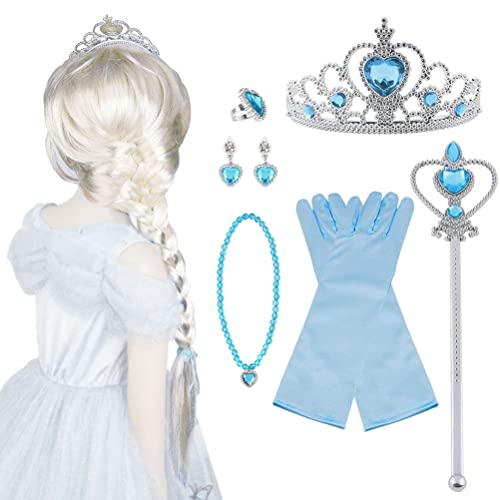 Vicloon 10Pcs Upgrade Princesa Vestir Accesorios - Peluca/Corona/Sceptre/Guantes para Niña