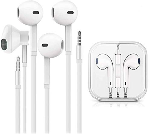(2 Pack) Earbuds/Earphones/Headphones, Stereo Microphone and Remote Control Noise Isolation in-Ear Headphones, Compatible with iPhone/iPod/iPad/Samsung/Huawei/MP3/MP4/MP5