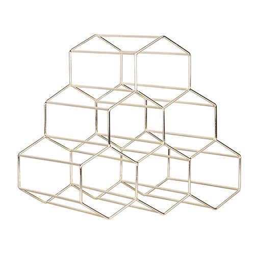 Botellero creativo geométrico para vino, ideal para el hogar, para el restaurante, sala de estar, bar, expositor (color: natural)