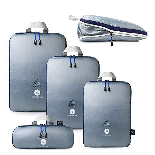 MNT10 Packtaschen Set mit Kompression S, M, L, XL I Packwürfel mit Schlaufe als Koffer-Organizer I leichte Kompressionsbeutel für den Rucksack I Kleidertaschen als Gepäck Organizer Set (S, M, L, XL)