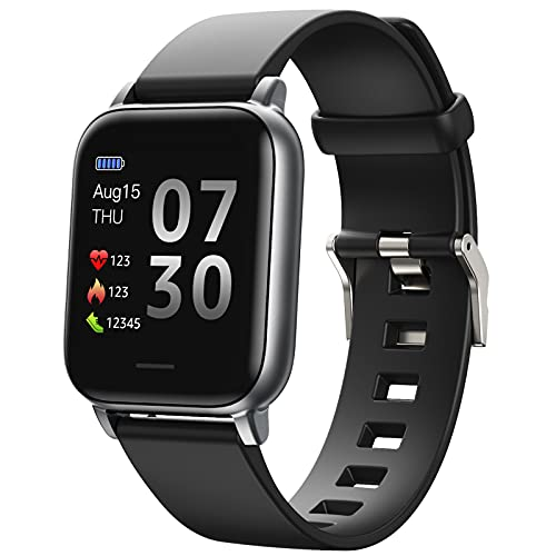 QFSLR Smart Watch Reloj Inteligente Fitness Tracker con Termómetro Ciclo Menstrual Femenino Monitor De Frecuencia Cardíaca Monitor De Presión Arterial Monitoreo De Oxígeno En Sangre,Negro