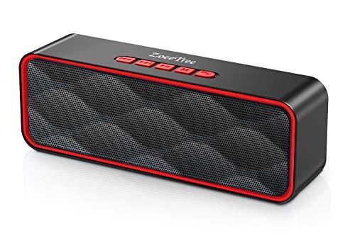 ZoeeTree Bluetooth スピーカー ワイヤレススピーカー FMラジオ対応 TWS機能 Bluetooth 5.0 内蔵マイク microSDカード 大音量 ブルートゥーススピーカー スマホスピーカー ポータブル (S1) (赤)