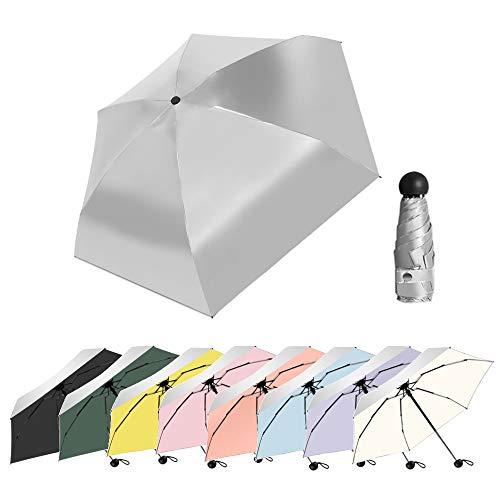 Mini Taschenschirm Silber Sonnencreme Regenschirm mit Schwarz-Futter, UV-Schutz Regenschirm für Sonne Oder Regen