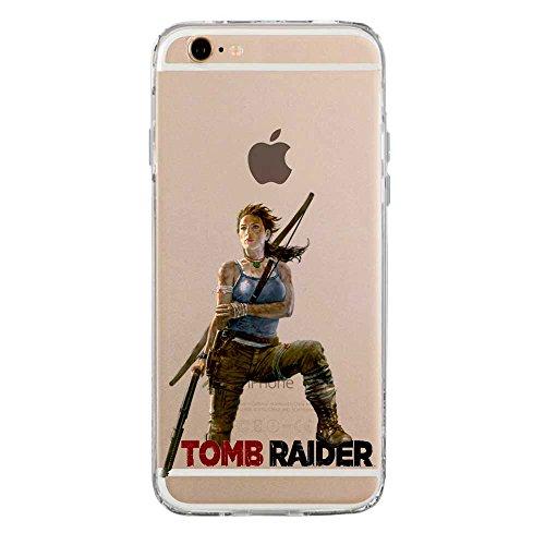 SLIDE Cover TPU Gel Trasparente Morbida Custodia Protettiva, Game Collection, Tomb Raider, iPhone 6 6S