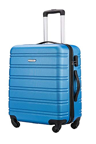 Flymax Cabin Luggage 4 Wheel Suitcase Lightweight Carry on 55x35x20 Approved for Flybe Ryanair Easyjet British Airways Royal Blue